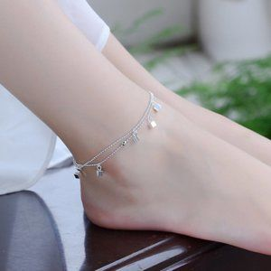 NEW 925 Sterling Silver Simple Cube Anklet